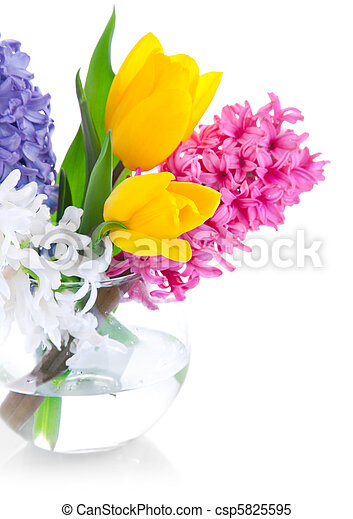 spring flowers in glass vase - csp5825595