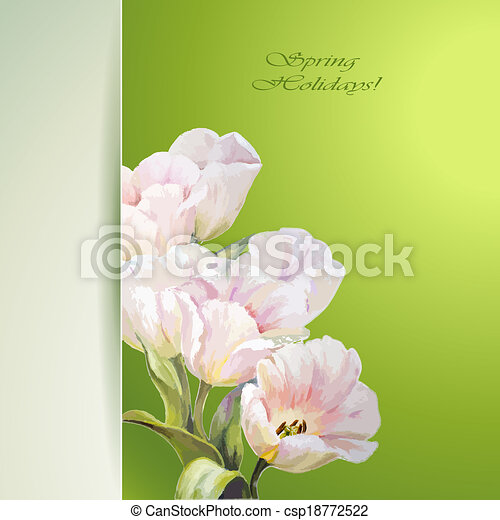 Spring flowers invitation template - csp18772522