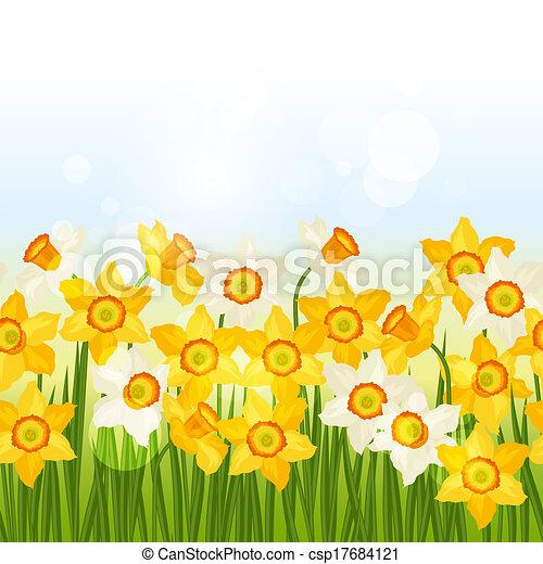 Spring flowers narcissus seamless pattern horizontal border mightylinksfo