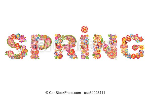 Spring flowers print vector clip art search illustration drawings spring flowers print csp34093411 mightylinksfo