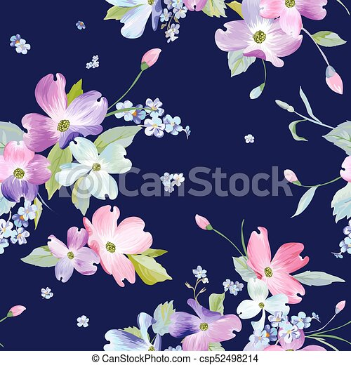 Spring Flowers Seamless Pattern Watercolor Floral Background For Wedding Invitation Fabric Wallpaper Textile Botanical Hand Drawn Texture Vector