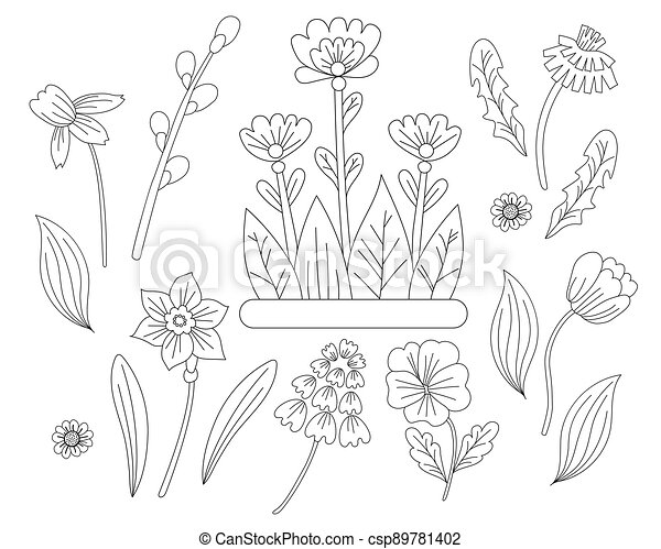 Spring flowers set - chamomile, daffodil, tulip, dandelion, violet and pussy willow. Vector drawing. Black line, outline. Ornamental first plants for printing, decor, design, decoration and postcards - csp89781402