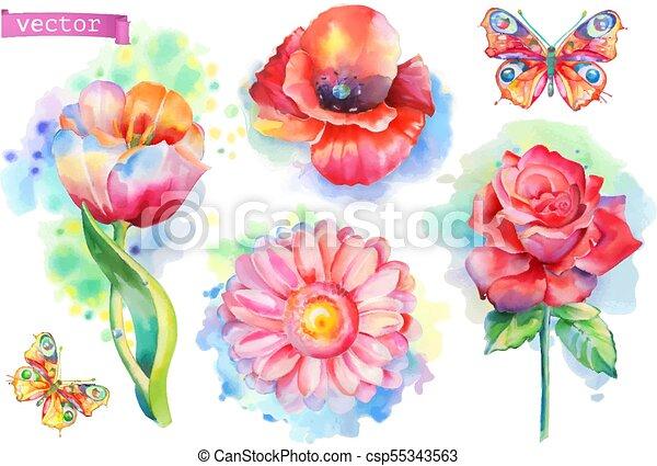 Spring flowers set. Watercolor vector - csp55343563