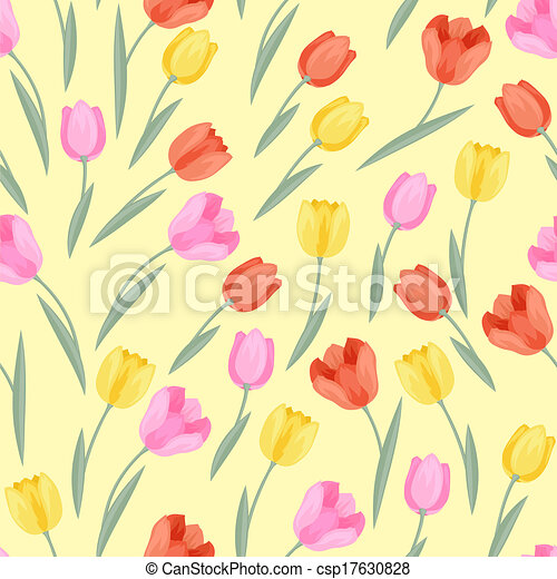 Spring flowers tulips natural seamless pattern vector illustration spring flowers tulips natural seamless pattern csp17630828 mightylinksfo