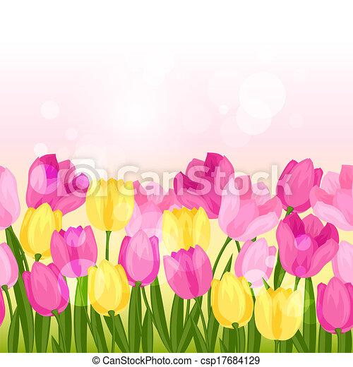 Spring flowers tulips seamless pattern horizontal border vector spring flowers tulips seamless pattern horizontal border csp17684129 mightylinksfo