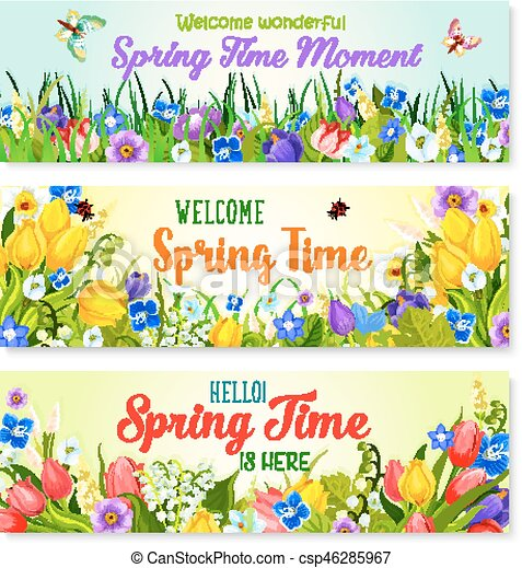 Spring Flowers Vector Banners For Holiday Greeting Spring Time