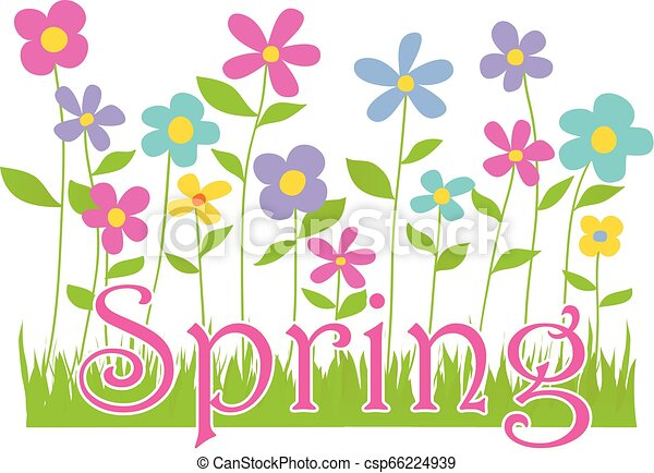 Spring Flowers with Text - csp66224939