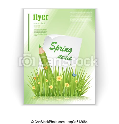 Spring Flyer Fresh Spring Green Grass Leaves Frame Template With