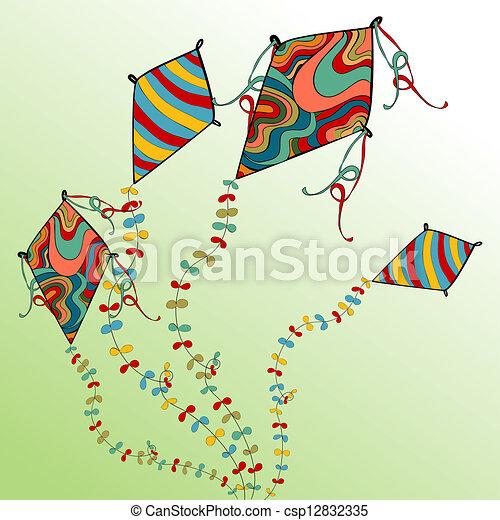 Spring Flying Kites Vibrant Colors Spring Flying Kites Vector File