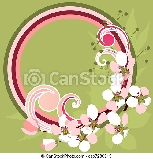 Spring frame with blossoming branches and curls - csp7280315