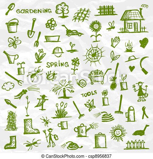 Spring. Garden tools sketch for your design - csp8956837