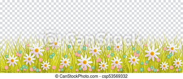 Spring grass and flowers border easter decoration spring grass and spring grass and flowers border easter decoration csp53569332 mightylinksfo