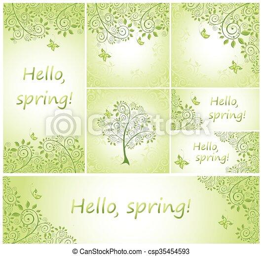 Spring green decorative design - csp35454593