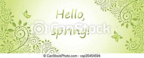 Spring green horizontal banner - csp35454594