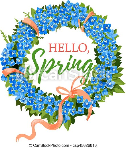 spring holiday vector crocus flowers wreath hello spring rh canstockphoto com spring vector game spring vector free download