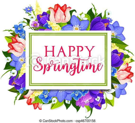 Spring holidays greeting card with floral frame spring holidays spring holidays greeting card with floral frame csp46700156 m4hsunfo
