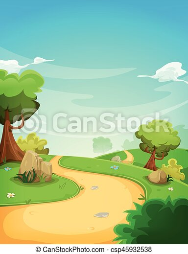 Spring Landscape Background With Path - csp45932538