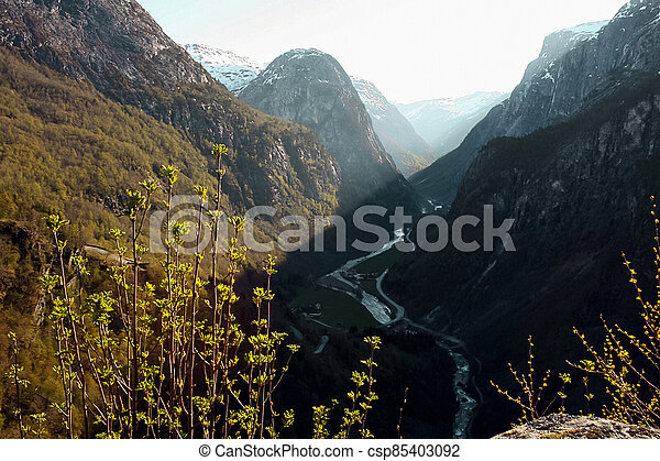 Spring landscape in Norway - csp85403092