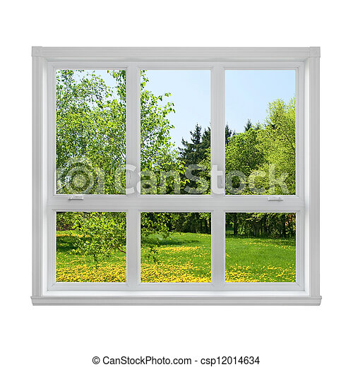 Spring landscape seen through the window - csp12014634