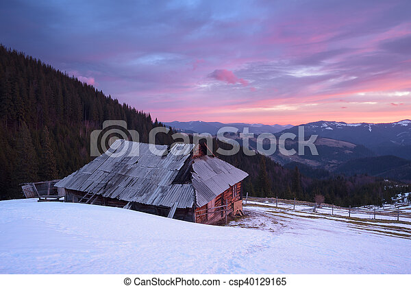 Spring landscape with old house - csp40129165
