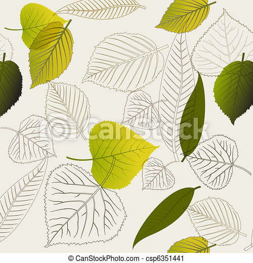 Spring leafs abstract seamless pattern - csp6351441