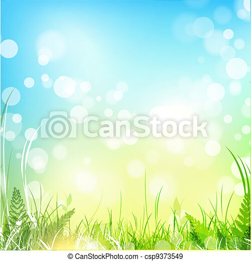 Spring meadow with blue sky - csp9373549
