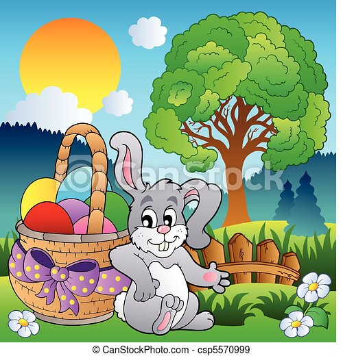Spring meadow with bunny and basket - csp5570999