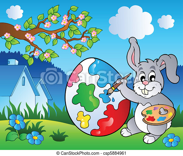 Spring meadow with bunny artist - csp5884961
