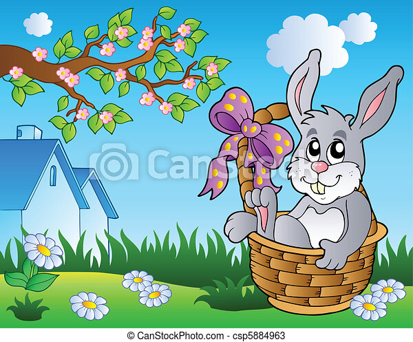 Spring meadow with bunny in basket - csp5884963