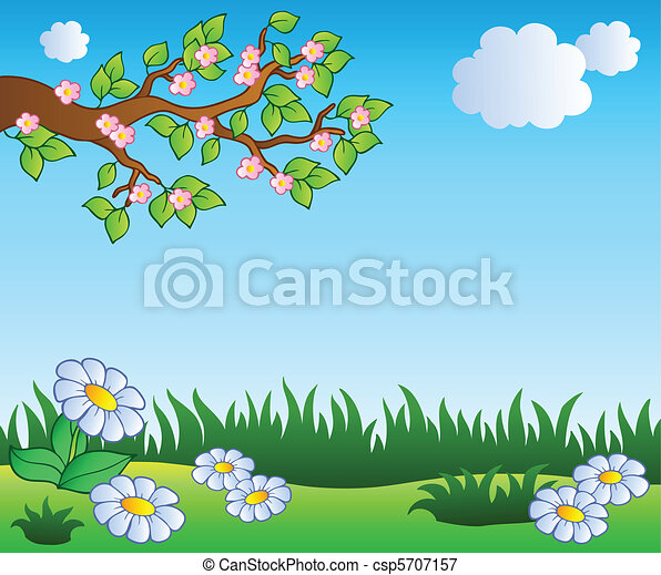 Spring meadow with daisies - csp5707157