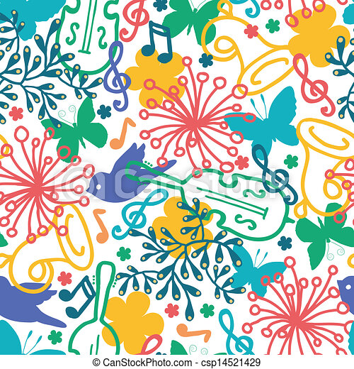Spring Music Symphony Seamless Pattern Background Vector Spring