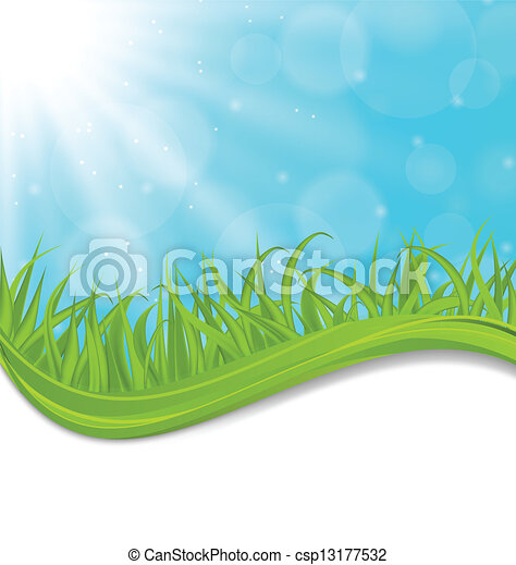 Spring natural card with green grass - csp13177532