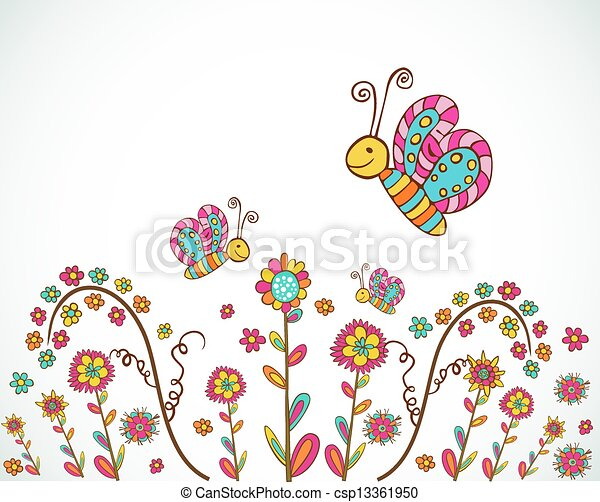 Spring Nice Flower Background Colorful Spring Flower And Butterfly