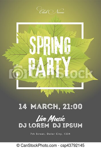 Spring Night Club Party Flyer Invitation Vector  Eps Vector