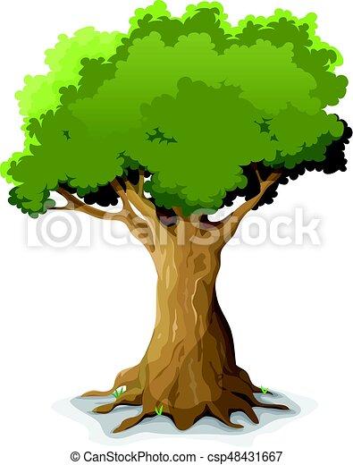 spring oak tree illustration of a cartoon big oak tree in spring or rh canstockphoto com Oak Tree Drawings cartoon oak tree leaf