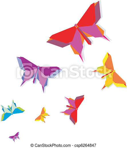 Spring Origami Butterfly Group In Vivid