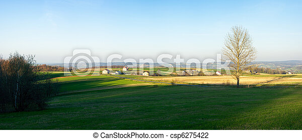 Spring panorama in Carpathian hills - csp6275422
