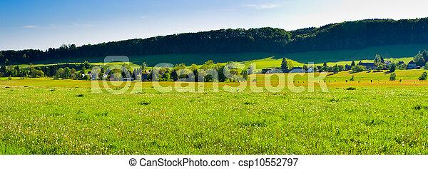 Spring panorama with village - csp10552797