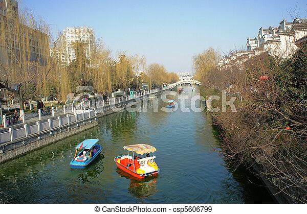Spring, Riverside, Pleasure boat - csp5606799