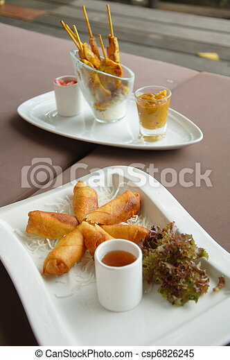Spring rolls and chicken satay plates - csp6826245