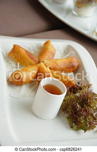Spring rolls on a plate - csp6826241