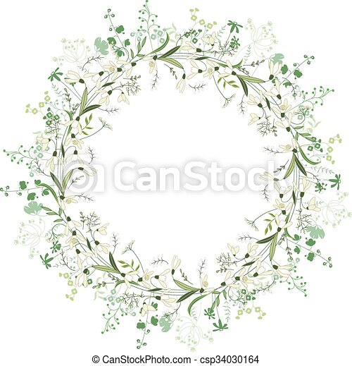 Spring round frame with contour flowers snowdrops on white - csp34030164