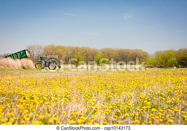 Spring rural scenery: tractor standing at the edge of a dandelion meadow - csp10143173