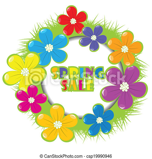 Spring sale advertising with grass and flowers - csp19990946