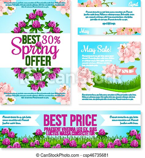 Spring sale poster, discount floral card template. spring green ...