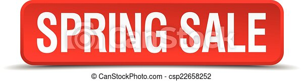 Spring sale red 3d square button isolated on white - csp22658252
