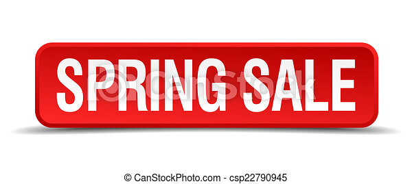 Spring sale red 3d square button isolated on white - csp22790945