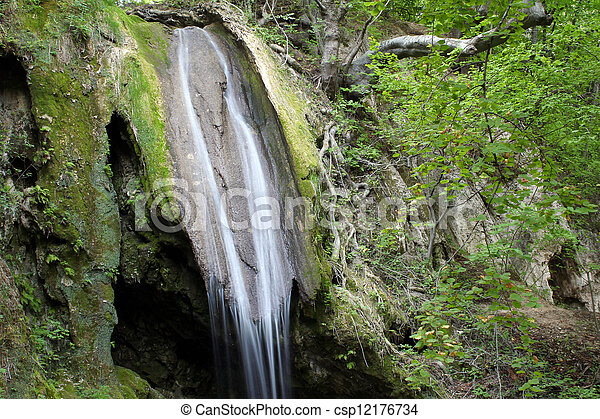 spring scene forest waterfall - csp12176734