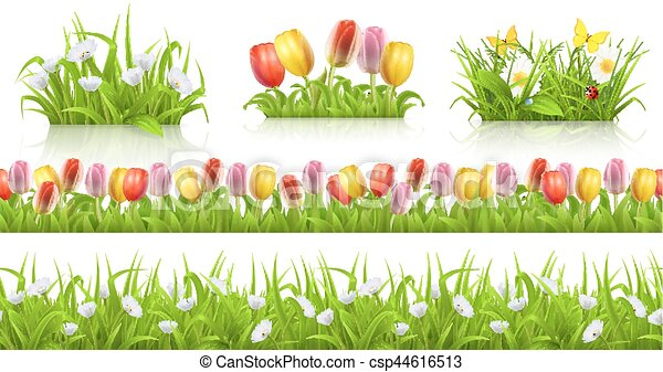 Spring seamless pattern, grass and flowers 3d vector set - csp44616513