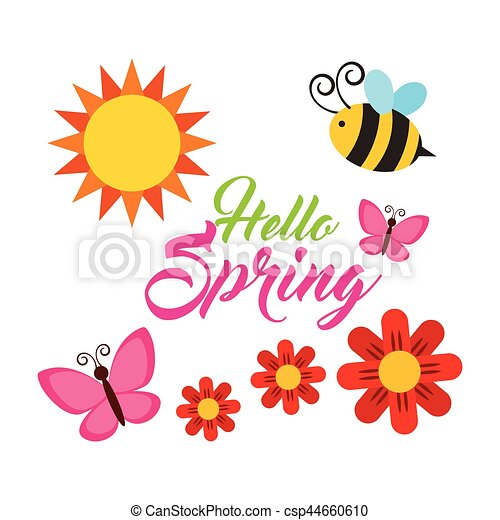 spring season design bee butterfly and flowers over white rh canstockphoto com spring season clipart spring season clipart png